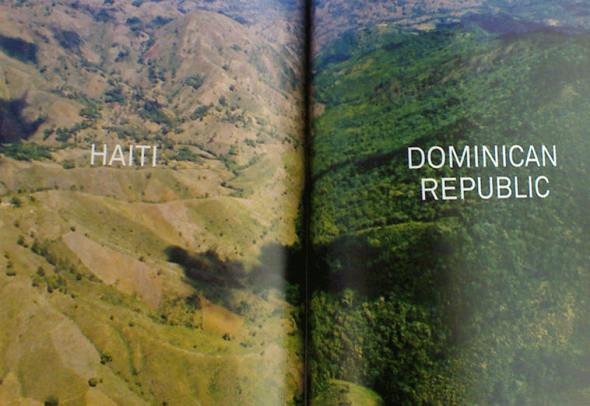 Aerial view of the border between Haiti and the Dominican Republic.